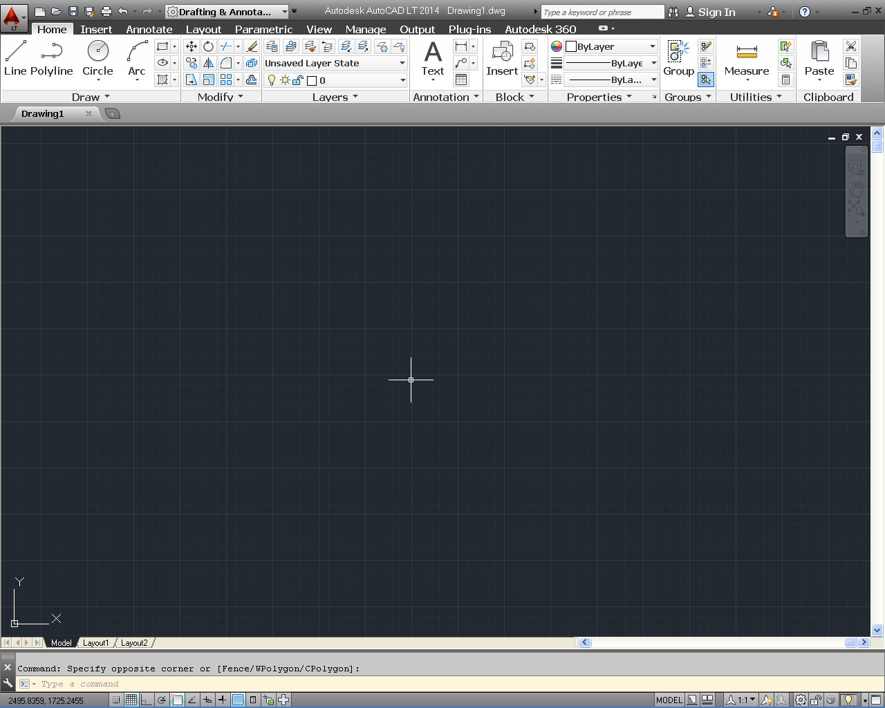 autocad 2014 drafting workspace